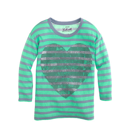 Girls' long-sleeve glitter heart stripe tee