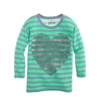 Girls' long-sleeve glitter heart stripe tee