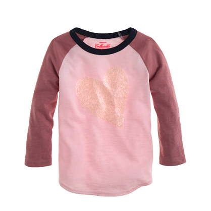Girls' long-sleeve sequin heart colorblock tee