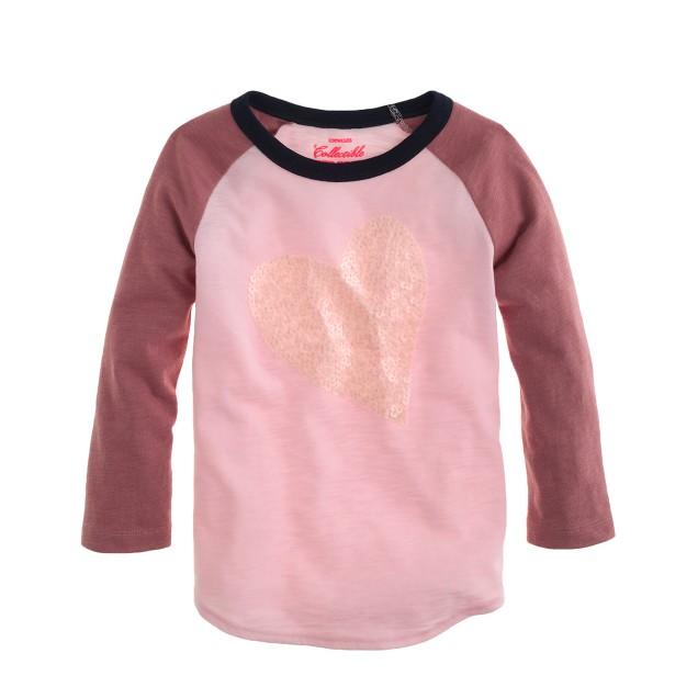 Girls' long-sleeve sequin heart colorblock tee