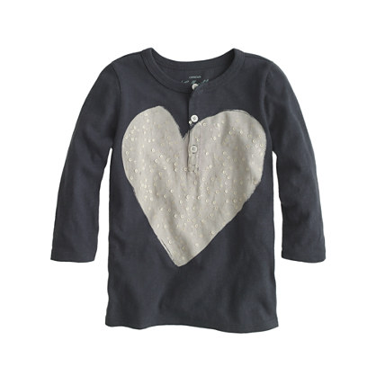 Girls' sequin heart henley