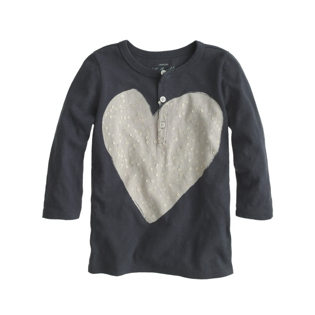 Girls' sequin heart henley