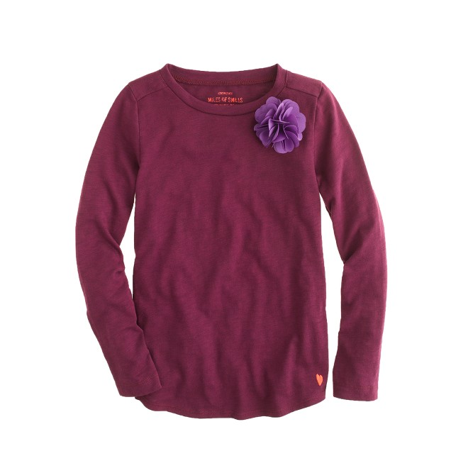 Girls' long-sleeve supersoft carnation tee