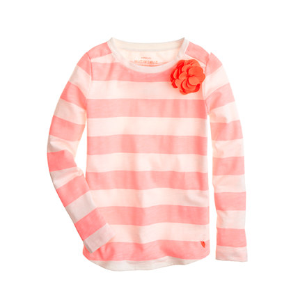 Girls' long-sleeve supersoft carnation tee in neon stripe