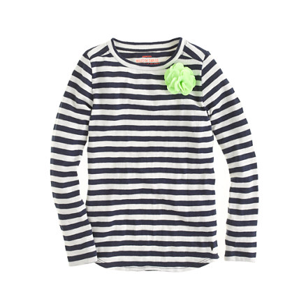 Girls' long-sleeve supersoft carnation tee in stripe