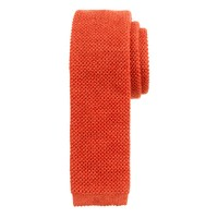 Wool knit tie in tangerine