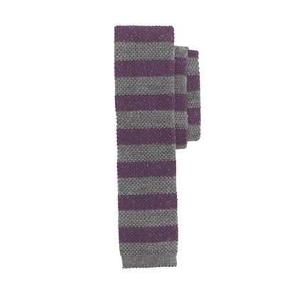 Wool knit tie in speckled stripe