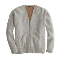 Collection bonded cashmere zip sweater-jacket