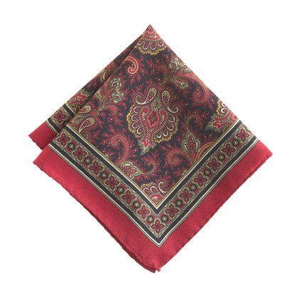 Italian wool pocket square in paisley