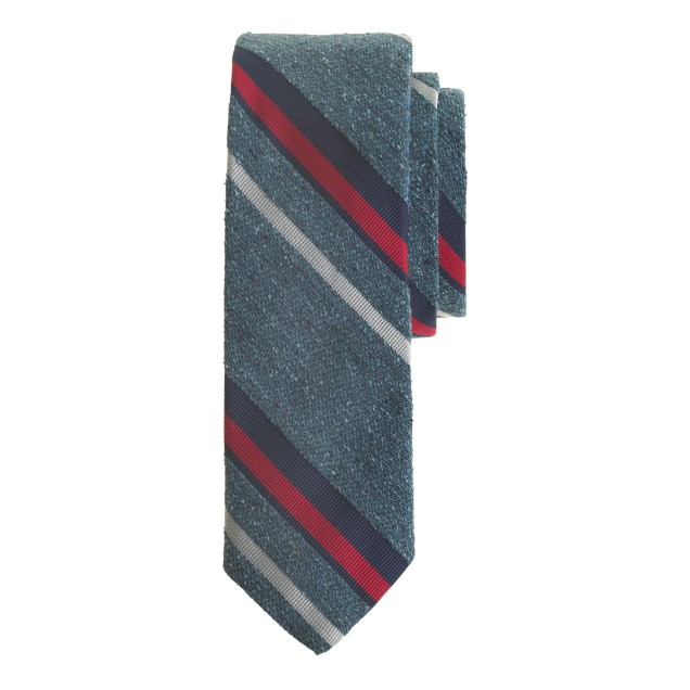 English textured silk tie in seascape stripe