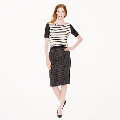 Petite No. 2 pencil skirt in colorblock houndstooth wool