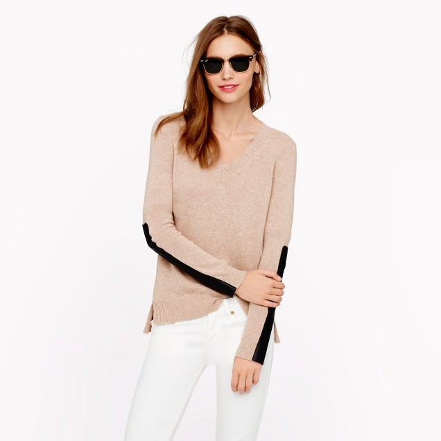 Leather panel V-neck sweater