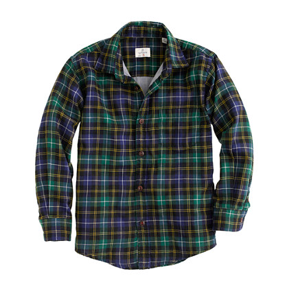 Boys' Hartford® shirt in double-face plaid