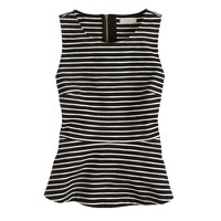 Ponte peplum top in stripe