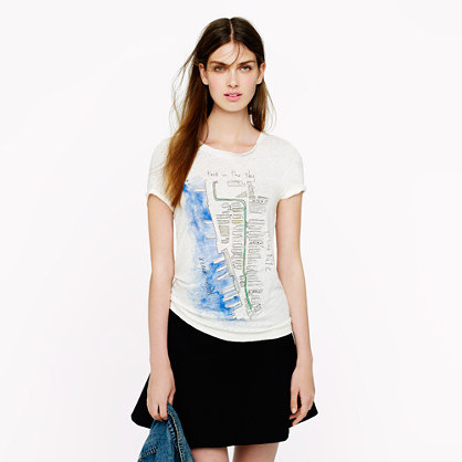 J.Crew for High Line watercolor map tee