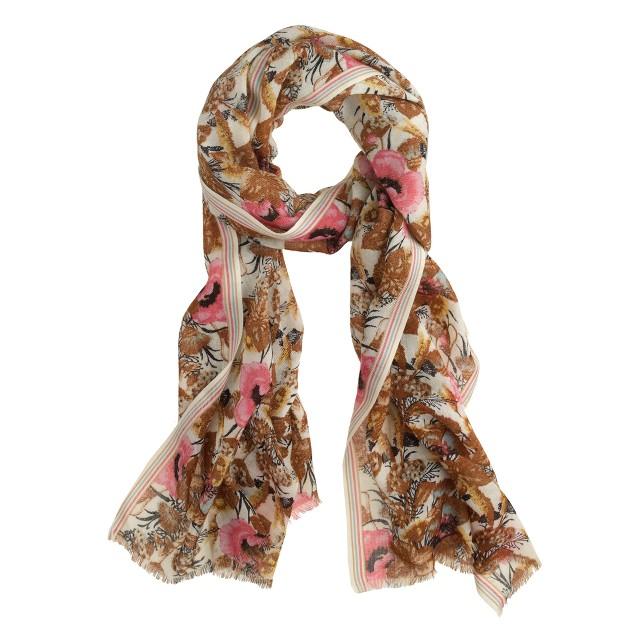Bouquet-dot wool scarf