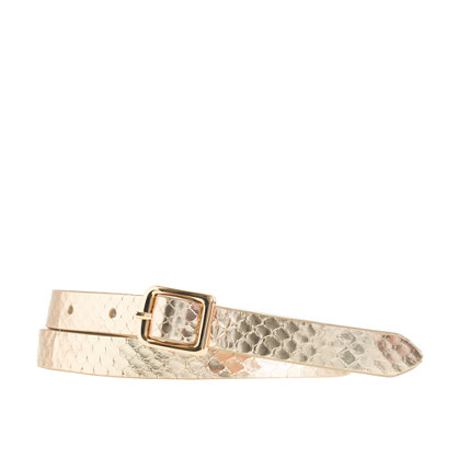 Snakeskin square-buckle belt