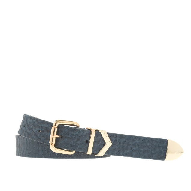 Chevron buckle leather belt