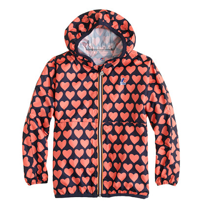 Girls' K-Way® for crewcuts Claude Klassic jacket in heart print