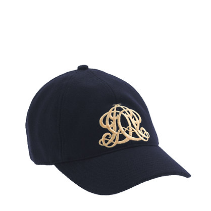 Embroidered emblem baseball cap in navy