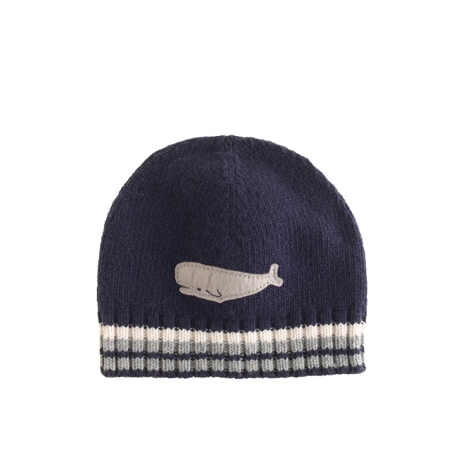 Boys' stripe-trim hat with whale patch