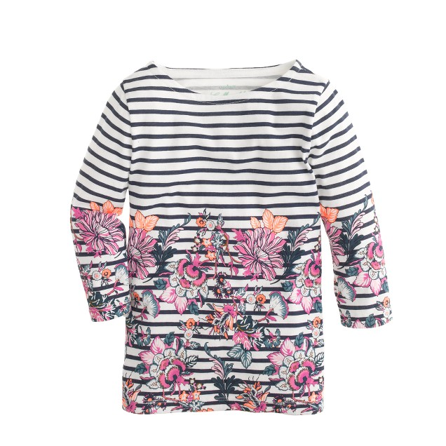 Girls' flower stripe tee