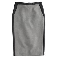 Collection No. 2 pencil skirt in leather-tipped double-serge wool