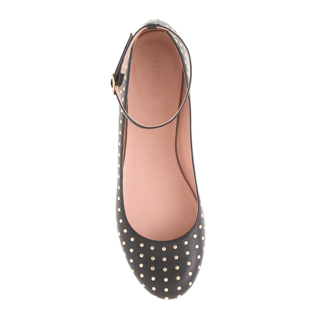 Nora studded ankle strap ballet flats