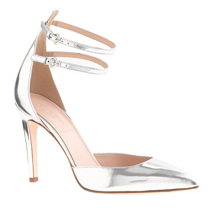 Strappy mirror metallic pumps