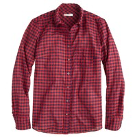 Crinkle boy shirt in red check