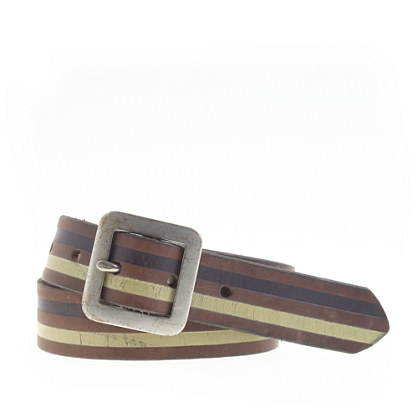 Boys' stripe leather belt