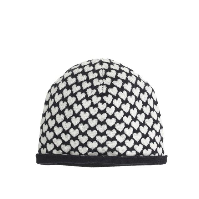 Girls' merino heart print hat