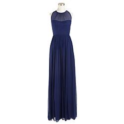 Petite Megan long dress in silk chiffon