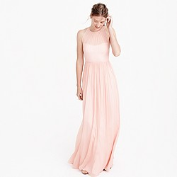 Petite Megan long dress in silk chiffon