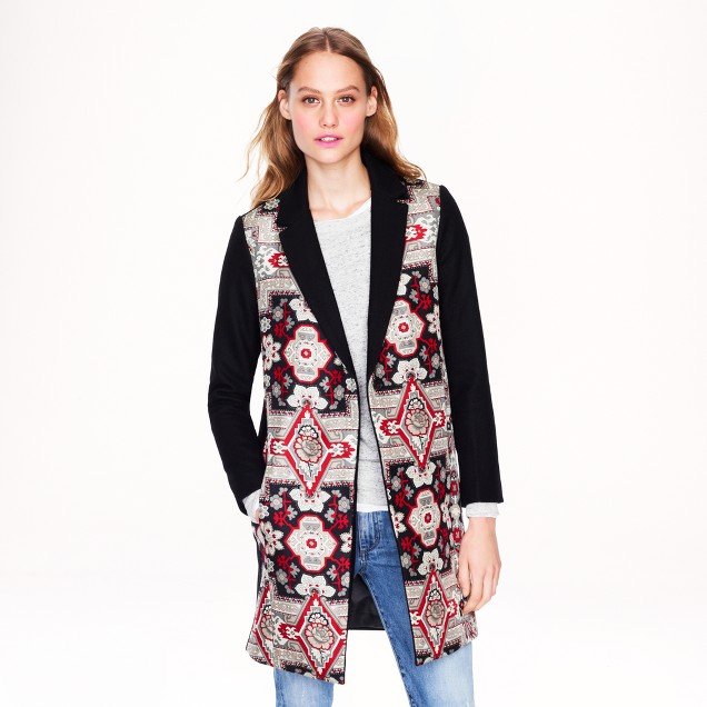 Collection topcoat in tapestry print