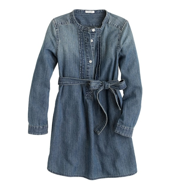 Girls' chambray pintuck dress