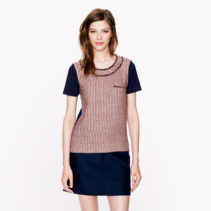 Tweed-front tee in camel