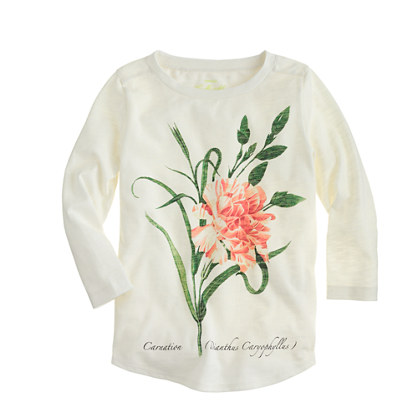Girls' long-sleeve botanical tee