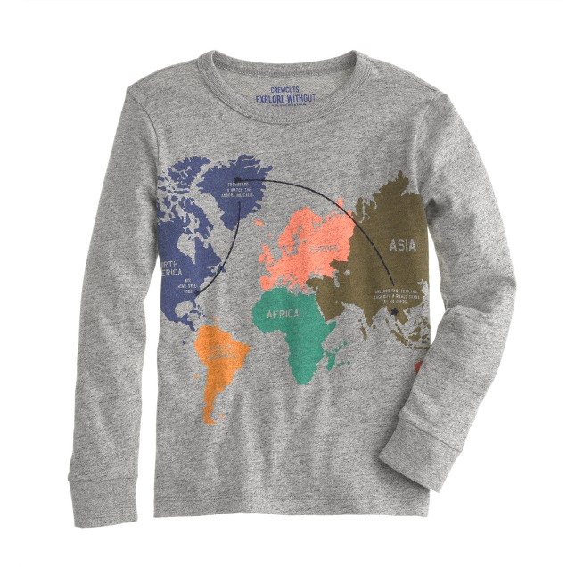Boys' long-sleeve map tee