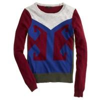 Colorblock intarsia sweater