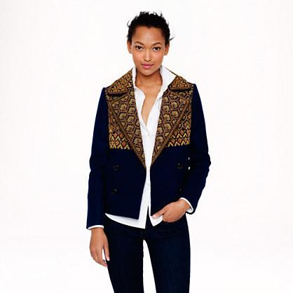 Collection gold bullion peacoat in Italian wool