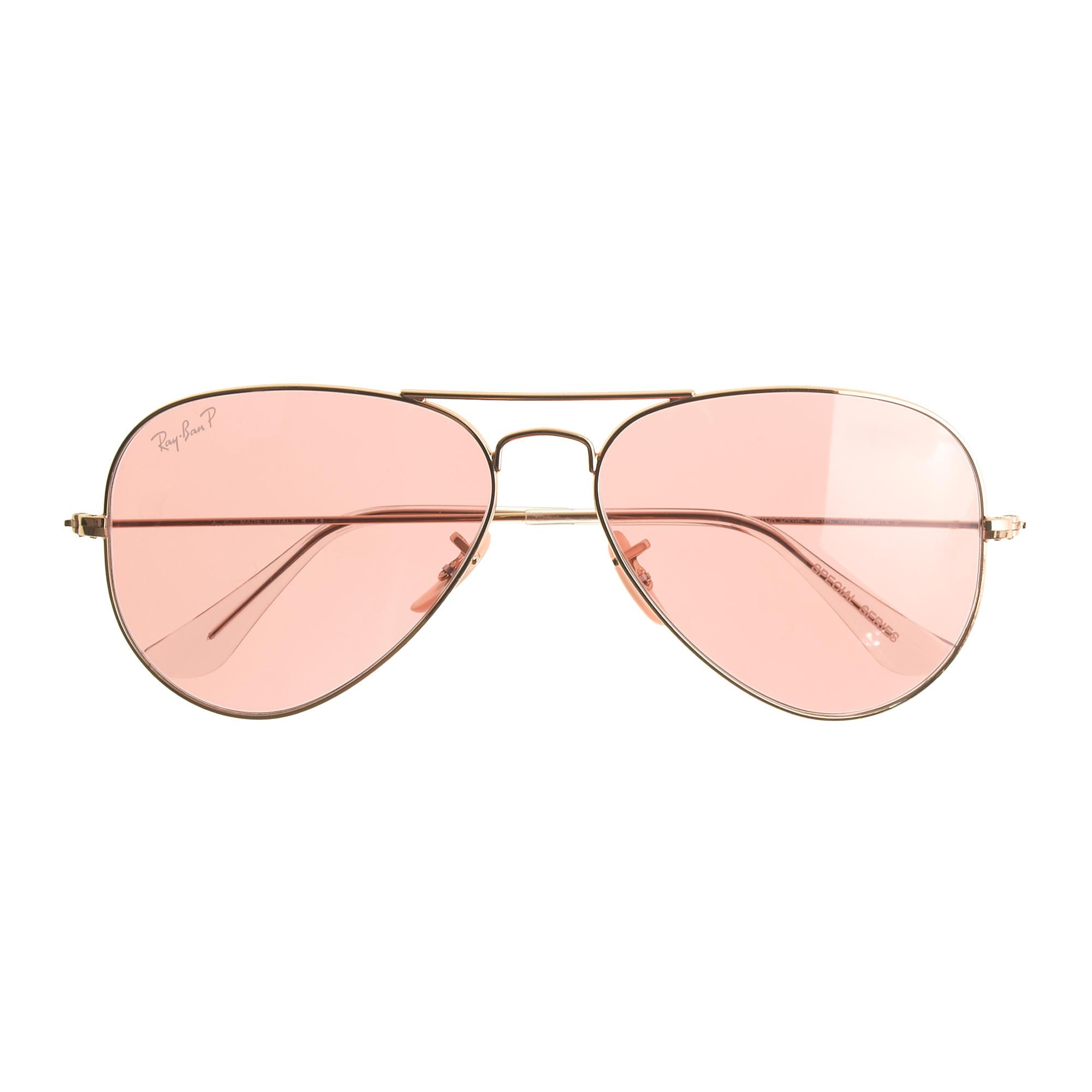 aviator lenses  Ray-Ban庐 Aviator Sunglasses with Polarized Pink Lenses