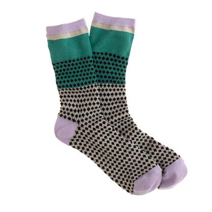 Colorblock dot trouser socks