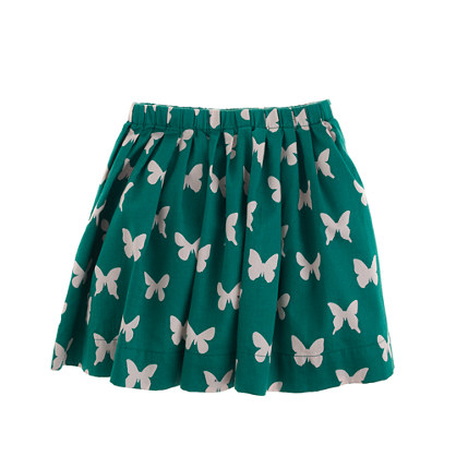 Girls' pull-on pleated skirt in butterfly