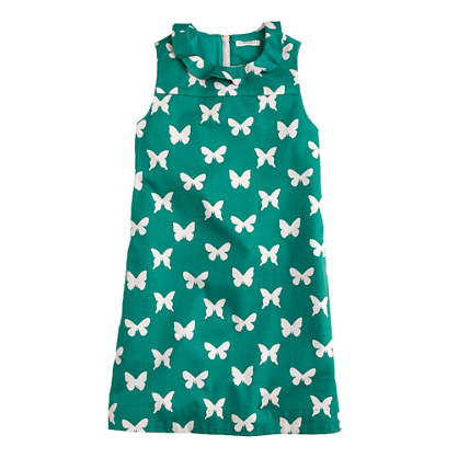 Girls' ruffle-collar shift dress in butterfly