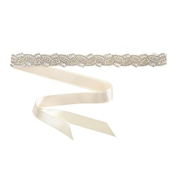 Crystalline beaded leaves sash