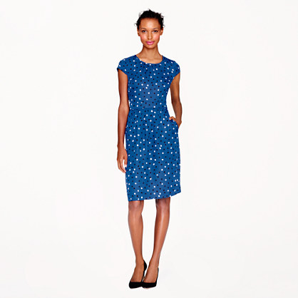 Silk cap sleeve dress in abstract dot