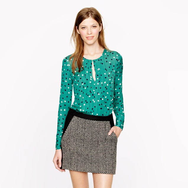 Pleated silk blouse in abstract dot