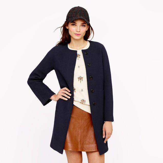 Petite double-cloth Sabrina coat