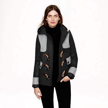 Colorblock duffle coat